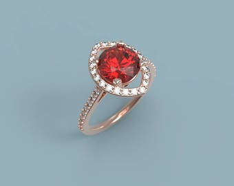Rose Gold Ruby Engagement Ring Ruby Halo Ring Rose Gold Engagement Ring Ruby Diamond Gold Halo Ring