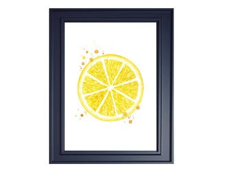 watercolor lemon slice print lemon watercolor citrus print kitchen wall decor watercolor fruit print kitchen painting citrus fruit art