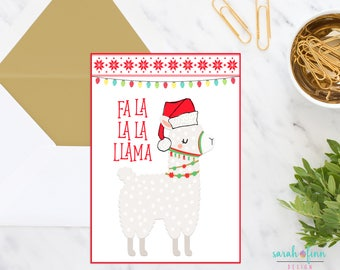 Llama Christmas Card, Printable Card, Fa La La Llama, Instant Download, Alpaca Christmas Card, Holiday Card, Xmas, Funny Card, Llamas