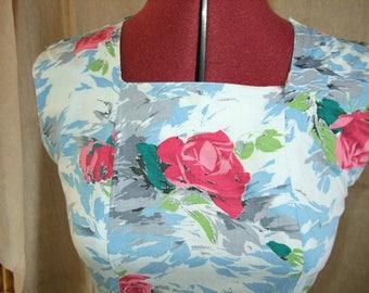 1950's Vintage Blue and Pink Cotton Print Dress