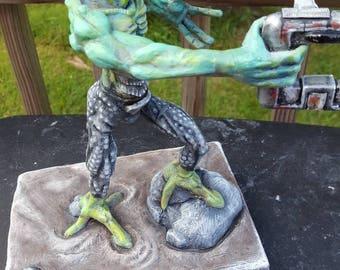 Green alien, alien sculpture, creature sculpture, outer space monster