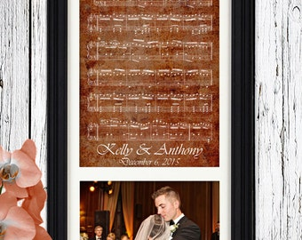 7 Year COPPER ANNIVERSARY Gift | Custom Sheet Music Art | 100% Cotton Art Paper with Velvet Texture | 7th Anniversary Traditional Mens Gift