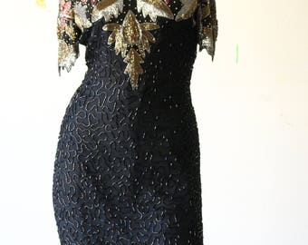 80's Sequin Beaded Dress by Lawrence Kazar