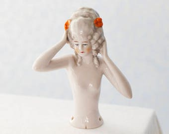 Elegant Porcelain Halfdoll, or Pincushion-doll, in Marquise-style, marked Deutschland (Germany), c1950s