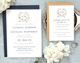 Monogram Wedding Invitation, Navy Wedding Invitation, Gold Monogram, Laurel Leaf Monogram, Classic Wedding Invitation, Laurel Wreath