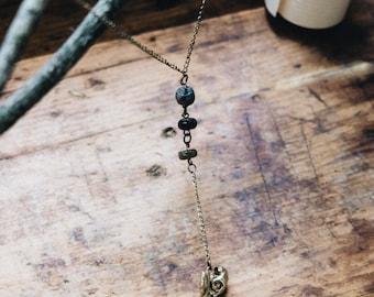 Raven Skull • Bird Skull • Antique Bronze • Labradorite Necklace •  Gemstone Necklace •  Y Necklace • Lariat Necklace • Wiccan