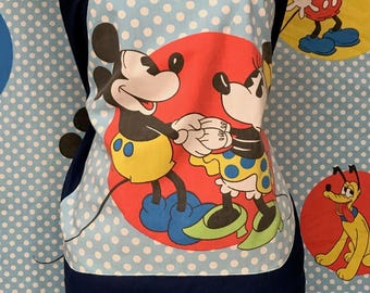 Mickey Mouse Halter Top Mickey Mouse Shirt Vintage Walt Disney Fabric One Size