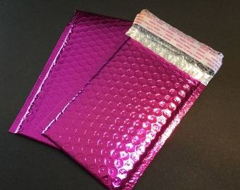 25  4x8  PINK METALLIC Poly Bubble Mailers Size 000 Self Sealing Shipping Envelopes Spring Easter