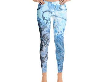 Leggings for Women - Printed Leggings, Aqua Blue Yoga Pants