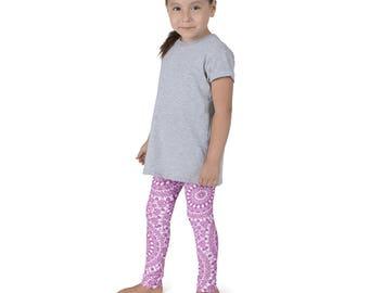 Pattern Leggings Kids, Girls Leggings, Magenta and White Mandala Leggings, Children's Yoga Pants