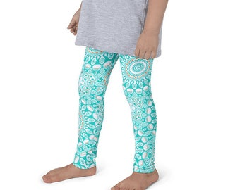Turquoise Leggings for Girls, Yoga Pants Kids, White and Blue Activewear for Children