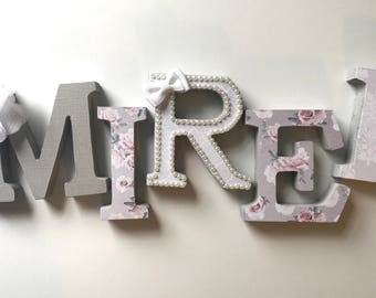 Gray and pink girls nursery letters, small nursery letters, pink gray nursery letters, baby name letters for shelf, pink baby nursery decor