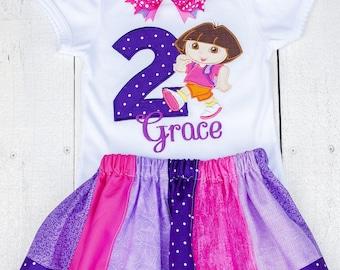 Dora the explorer birthday shirt, dora birthday outfit, personalized