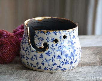 Blue filigree flower handmade large ceramic knitting bowl pottery yarn bowl