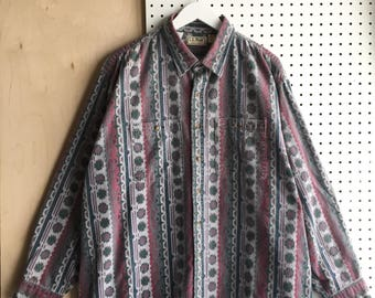 80s L.L.Bean Outdoor Indian Aztez Chamois L/S Button Front Shirt Made in USA