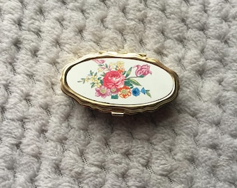 Vintage 1980 Small Double Pill Box with Floral Design