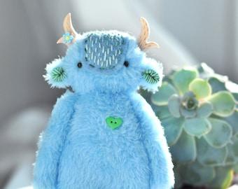 Blue Spirit Primrose handmade miniature toys monster cute plush