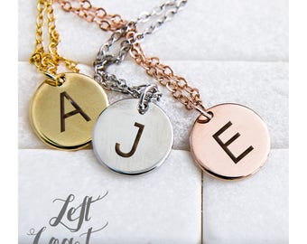 Initials Necklace Pendant Engraved Emoji Emoticon Hand Stamped Her Initials Rose Gold Silver Ships Fast