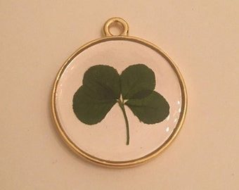 Two-Tone Real Four Leaf Clover Pendant