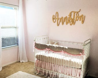 Gold Glitter Calligraphy Name Sign - Laser Cut Wall Letters - Gold Nursery Decor - Little Girls Room - Personalized Extra Large Cutout