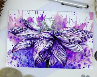 Lotus Flower Card, Purple Flowers, Spiritual Art, Blank Cards, Notelet Cards, Flower Cards, Birthday Card Friend, New Home Card, 6x4 Print