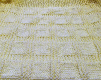 Yellow Hand Knitted Baby Blanket,Newborn Blanket,Baby Shower Free Shipping!