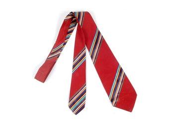 Vintage 40s Tie - 40s Wide Tie - Wide Tie - 40s Striped Tie - 40s Red Tie - Art Deco - Satin Striped Tie - 40s Art Deco Tie - 40s Swing Tie