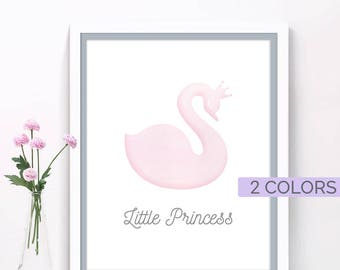 Little girl room art print, Scandinavian modern nursery decor, Pink room art, Swan princess prints