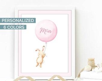 Custom baby name print, baby girl nursery wall art, balloons nursery, personalized baby gift, custom pink nursery decor