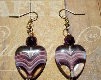 Purple Hearted Earrings