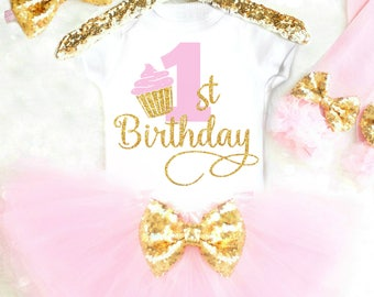 Cake Smash Outfit Girl Smash Cake Outfit Cupcake Birthday Outfit First Birthday Outfit Pink and Gold 1st Birthday Girl Outfit 28