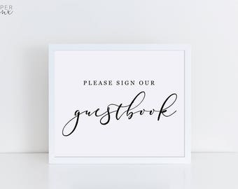 Printable Guestbook Sign   Wedding Signs   Calligraphy Black and White Sign   Printable Wedding Guestbook Sign   Engagement Signs