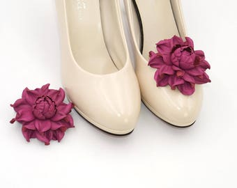 Shoe clips - Genuine leather SHOE CLIPS flowers, dark fuchsia rose shoe decoration | Pumps flowers | Shoe jewelry | Handmade shoe jewellery