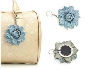 2 in 1 : Tabletop Purse HANGER + Blue-Gray Flower BAG CHARM   Real Leather Blue Rose Handbag Charm Folding Table Purse Hook, silver keychain