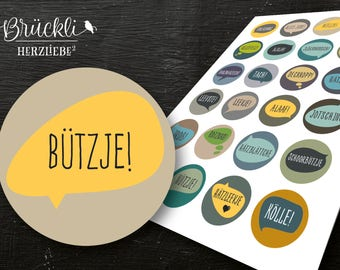 24 labels / stickers / labels Cologne - proverbs / dialect / vernacular