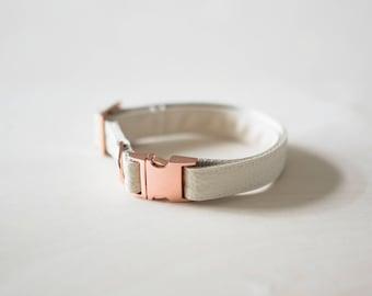 Cream Leather Collar, Faux Leather Dog Collar, Vegan Collar, Rose Gold Collar, Wedding Dog Collar, Modern Collar, Minimal Girl Dog Collar
