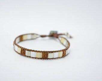 Bracelet glass beads Miyuki beige and Brown, beige Swarovski button and silver beads
