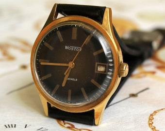 Men's Vintage Watch WOSTOK, gold plated Au 20, USSR Whrist watch, Classic SOVIET Watch-2209, Men's  Watch, Wostok Watch, Mechanical Watch