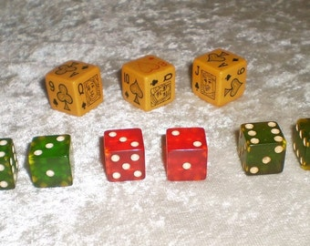 Vintage Catalin Poker Dice and Game Dice Set-1940's