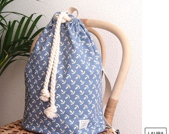 Backpack sailor of cotton with waterproof backing of anchors / anchors drawstring cotton inner waterproof backpack