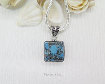 Antique Square shape Tibetan Turquoise Sterling Silver Pendant and Chain