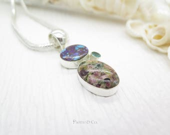 Purple Turquoise Pyrite Tourmaline and Blue Topaz Sterling Silver Pendant and Chain