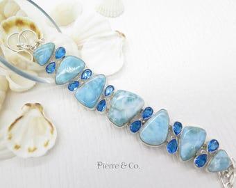 Larimar and Blue Topaz Sterling Silver Bracelet