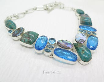 Chrysocolla Blue Topaz Abalone Shell Sterling Silver Necklace