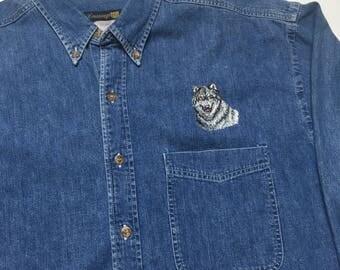 Vintage Denim Button Up shirt - 90s Denim Shirt - Wolf Shirt - Denim Long Sleeve - Vintage Denim Long Sleeve - 90s Wolf Shirt - Blue Jean