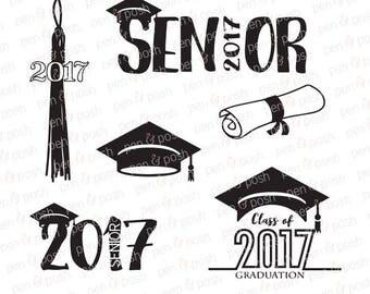 Graduation SVG - Graduation DXF - Graduation Clipart - Senior 2017  2017 Senior  Diploma  Graduation Cap Svg