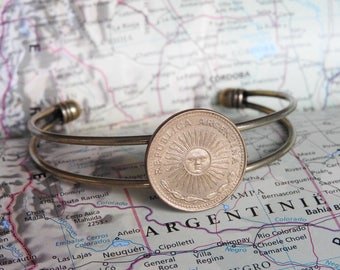 Argentina coin cuff bracelet - 5 different designs - made of original coins - sun - South America - wedding gift - travel
