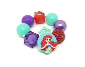 Girls Ariel The Little Mermaid beaded bracelet - The Little Mermaid bubblegum bracelet