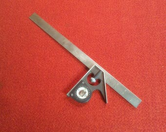 """Vintage Craftsman No. 39554 16"""" Combination Square Protractor Square With Adjustable Level Angle Finder"""