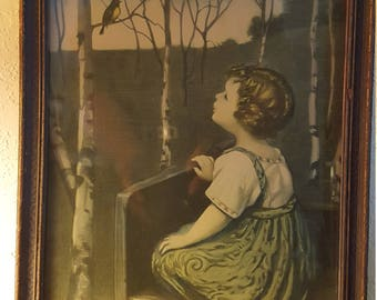 """Antique """"Spring Song"""" print by Simon Glucklich Blind Girl Listening to the bird"""